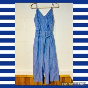 Sienna Sky Medium Blue Striped Jumpsuit